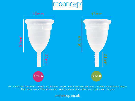 Moon cup sizes